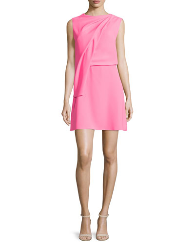 Sleeveless Draped Mini Dress, Shocking Pink