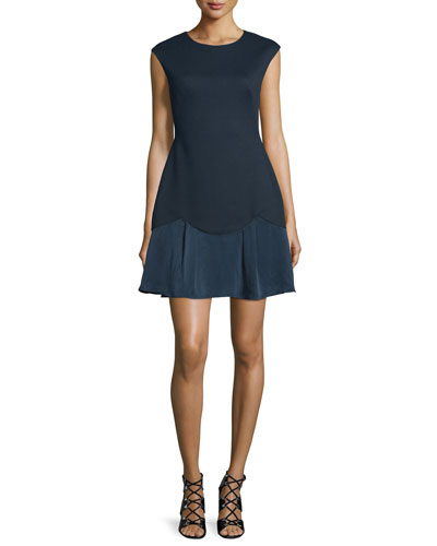 Sleeveless A-Line Pique Combo Dress, Navy