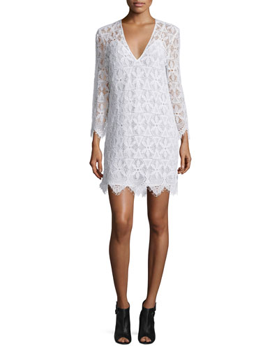 Lace Long-Sleeve Sheath Dress, Blanc