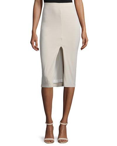 Spiga Ponte Front-Slit Pencil Skirt, Tan