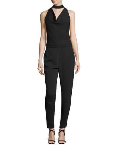 Cowl-Neck Slim-Leg Jumpsuit, Black