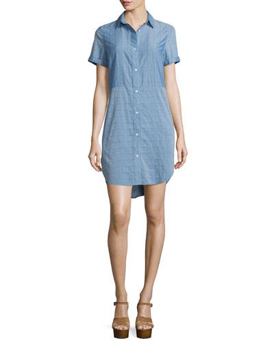 Short-Sleeve Chambray Shirtdress, Blue
