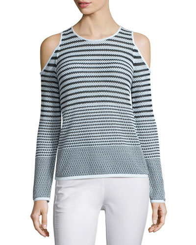 Quinn Striped Cold-Shoulder Sweater, White/Black