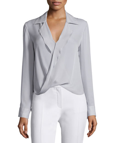 Rita Collared Silk Blouson Top, Cloud