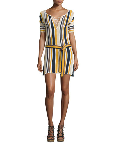 Lace-Up Belted Sweaterdress, Multi Stripe