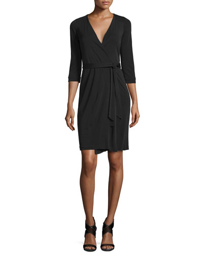 New Julian Two Matte Jersey Wrap Dress, Black