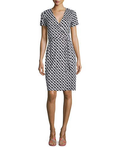 New Julian Two Silk Chain Link Wrap Dress