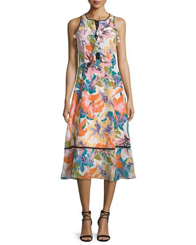 Sleeveless Ruffle-Trim Midi Dress, Tangerine/Multi