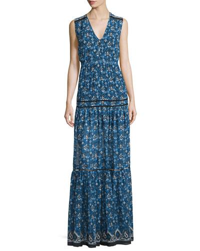 Tecate Tiered Multipattern Maxi Dress, Blue