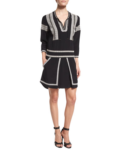 Ignacio 3/4-Sleeve Embroidered Silk Dress, Black