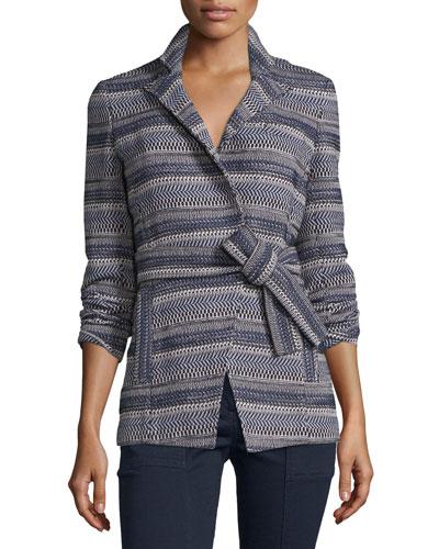 Pamona Surplice Tweed Jacket, Ivory/Navy