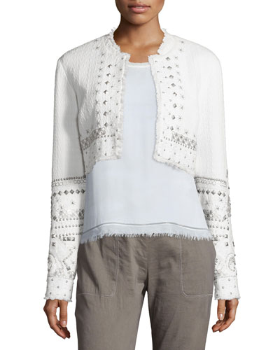 Doris Embellished Cropped Jacket, White