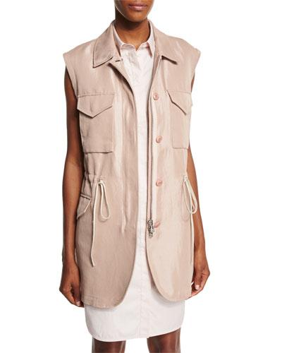 Button-Front Drawstring Utility Vest, Blush