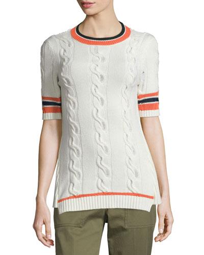 Collegiate Short-Sleeve Open-Back Sweater, White