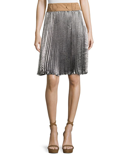 Sunburst Pleated Skirt w/ Contrast Waist, Platinum