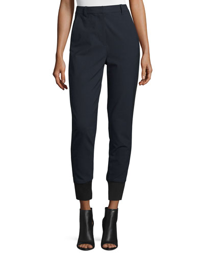 High-Rise Straight-Leg Track Pants, Navy