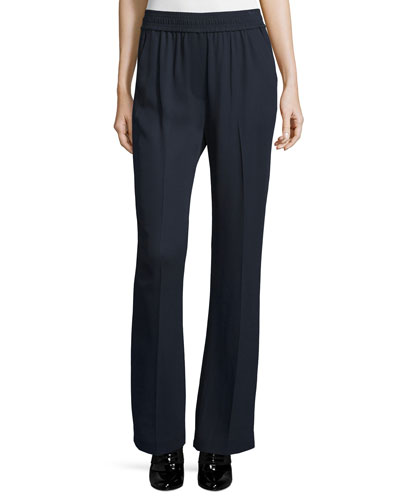 Smocked Boot-Cut Stretch Pants, Navy