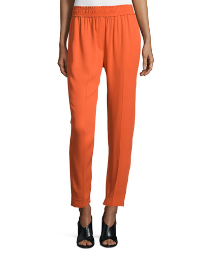 Smocked Straight-Leg Cropped Pants, Lava