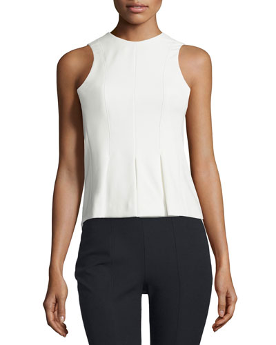 Sleeveless Paneled Stretch Twill Top, Ivory
