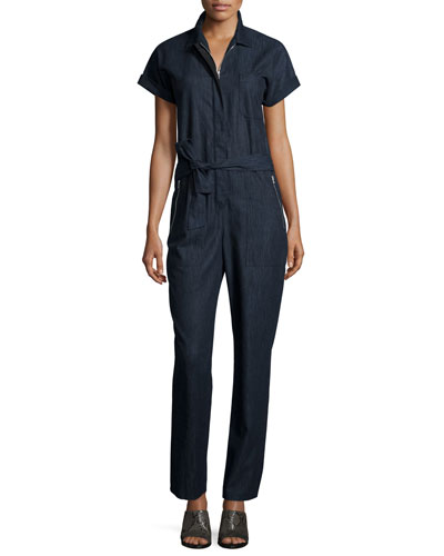 Tiggy Short-Sleeve Chambray Jumpsuit, Indigo