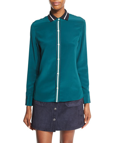 Nico Long-Sleeve Tipped Silk Blouse, Teal