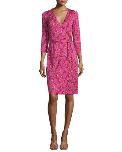 New Julian Two Shalamar Trellis Silk Wrap Dress, Pink