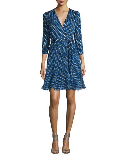 Irina Diagonal Dots Silk Wrap Dress