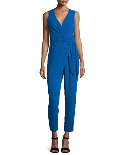Cordia Sleeveless Crepe Surplice Jumpsuit, Blue Riviera