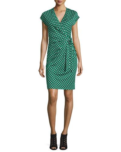 Sascha Dots Faux-Wrap Sheath Dress, Green