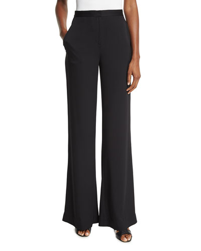 Katara Wide-Leg Stretch Silk Pants, Black