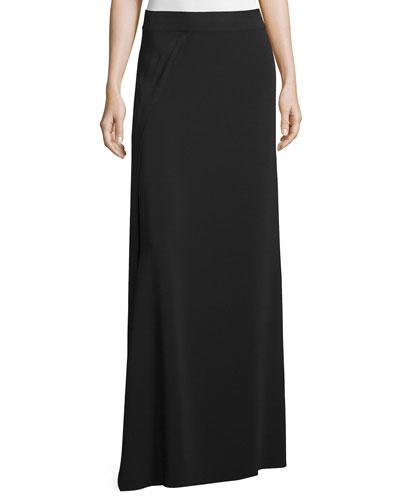 Draped Maxi Skirt, Black
