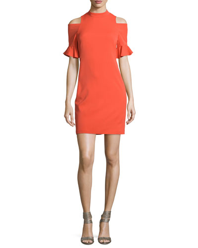 Crepe Cold-Shoulder Sheath Dress, Koi Fish