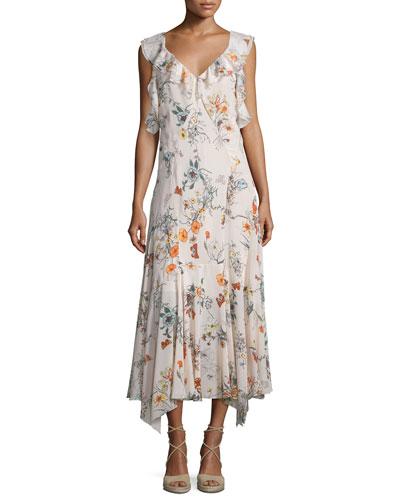 Meadow Sleeveless Floral Silk Midi Dress, Pink Combo