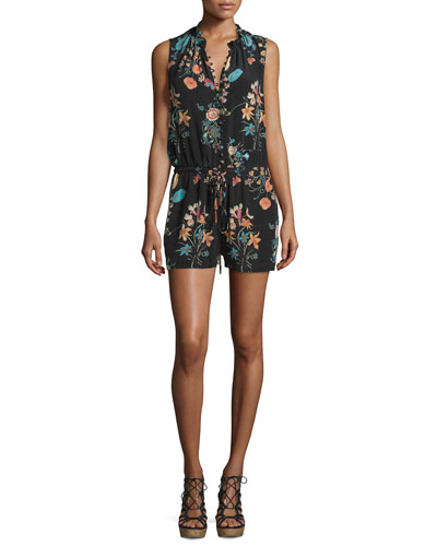 Meadow Sleeveless Floral-Print Romper, Black/Combo