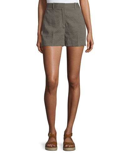 Calila 2 Crunch Wash Linen Shorts, Dark Moss