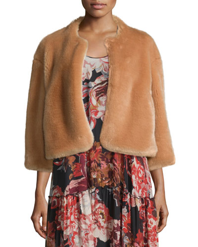 Sawyer Cropped Faux-Fur Coat, Buff