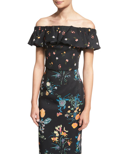 Off-The-Shoulder Floral-Print Top, Black/Combo
