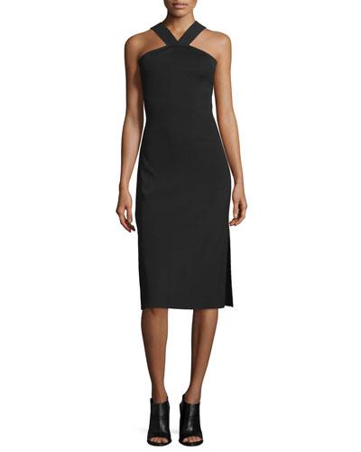 Rachel Sleeveless Ribbed Midi Dress, Black