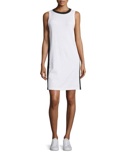 Sam Stripe-Trim Jersey Shift Dress, Bright White