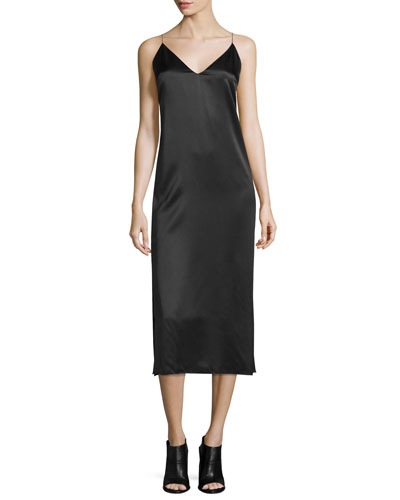 Nina Silk Satin Midi Dress, Black