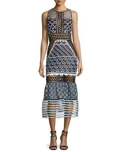 Sleeveless Mesh-Inset Midi Dress, Black/White