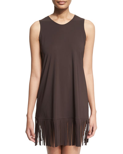 Fringe-Trim Sleeveless Coverup Dress