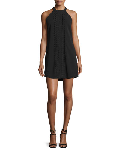 Liv Sleeveless Scalloped Mini Dress, Black