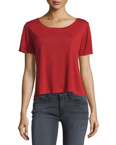 Boxy Short-Sleeve Tee, Crimson