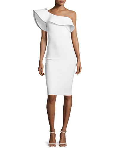 Elisse One-Shoulder Ruffle Sheath Cocktail Dress