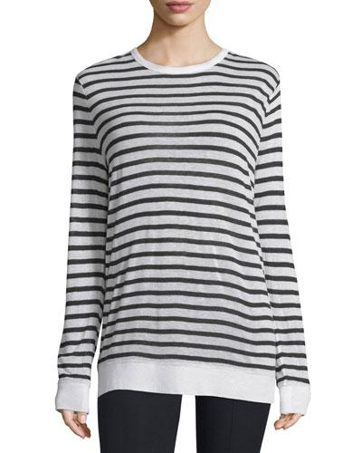 Long-Sleeve Striped Linen-Blend Top, Ink/Ivory