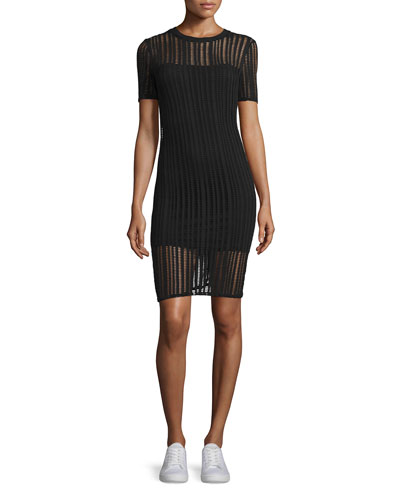 Short-Sleeve Jacquard Sheath Dress, Black