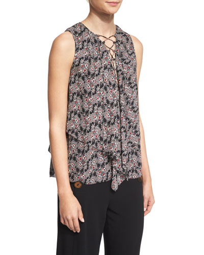 Sleeveless Floral Silk Lace-Up Top, Black/Multicolor