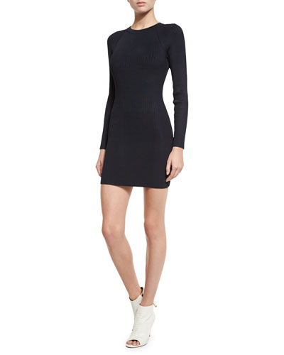 Nick Long-Sleeve Ribbed Stretch Dress, Navy