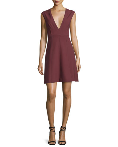 Charlie Sleeveless V-Neck Stretch Dress, Bordeaux
